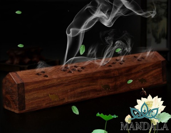 Hộp gỗ đốt hương không chân gỗ Hương Ấn Độ