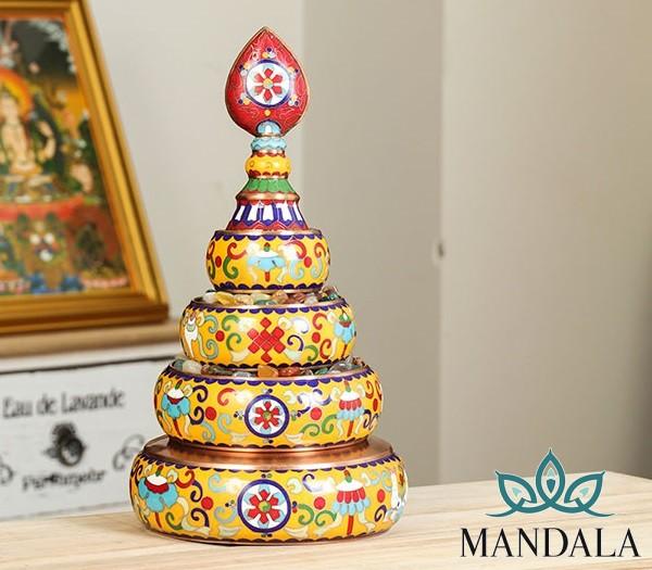 Mandala đồng họa tiết pháp lam 24cm